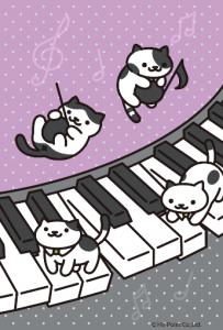 ねこあつめ壁紙 音符とピアノとねこ
